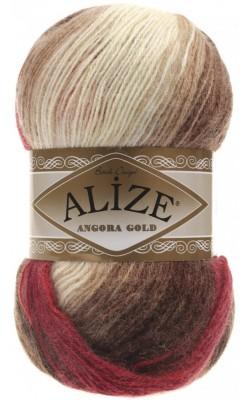 """Пряжа ALIZE """"Angora Gold Batik"""" 100гр.550м (80%акр, 10%шерсть, 10%мохер) 4574 красный/кофе/молочный"""