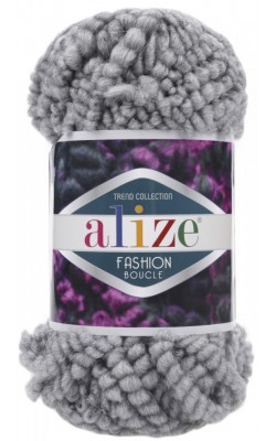"Пряжа ALIZE ""Fashion boucle"" 100гр., 35м. (70%акрил, 25% шерсть, 5% полиамид) 21 серый"