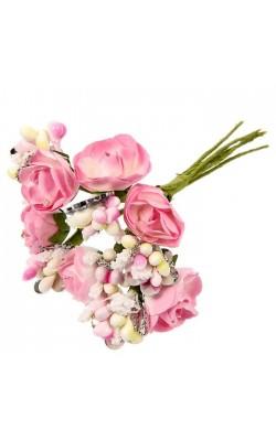 """Декор для творчества """"Розовые розы"""" (набор-букет 6 цветков) 9 см"""