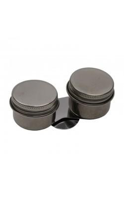 Масленка двойная, металлическая с закручивающимися крышками, форма цилиндр, d 36мм, h 28мм