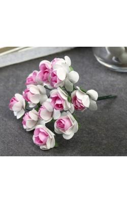 """Декор для творчества """"Бело-розовый/сиреневый цветок"""" в букете 12 шт. 6 см"""