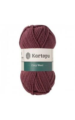 """Пряжа KARTOPU """"Cozy Wool"""" 100г 110м (25% шерсть, 75% акрил) (K1707 винный)"""