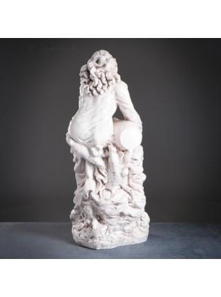 """Фигура """"Девушка сидя с кувшином большая"""", 95 см, бежевая, состаренная, гипс, лаковое покрытие"""