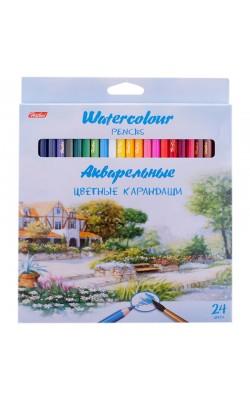 """Карандаши акварельные """"Hatber"""" Пейзаж, 24 цвета, заточенные, в картонной коробке"""