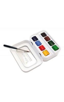 """Набор акварельных красок """"Sennelier"""" Artists Aqua-mini, 8 полукювет, кисть, в металлической коробке"""