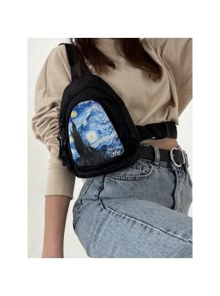 """Сумка-рюкзак """"NAZAMOK"""" Ван Гог, 15*10*26 см, на молнии, регулируемый ремень, чёрный"""