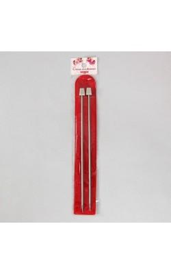 Спицы для вязания прямые, сталь с пластиковым наконечником, 20см d=3,5мм (2шт)