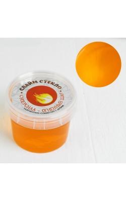 """Слайм """"Стекло"""" оранжевого цвета 100 гр. в банке"""