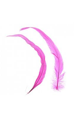 Набор перьев для декора 2 шт, размер 1 шт 30*3, цвет розовый