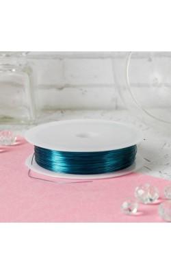 Проволока для бисероплетения, голубой, d=0,3 мм, 30 м