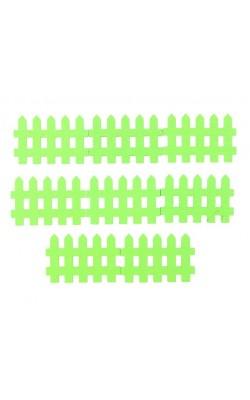 Миниатюра кукольная, набор 8 шт «Забор», размер 1 шт: 0,3×4,5×3 см, цвет зелёный