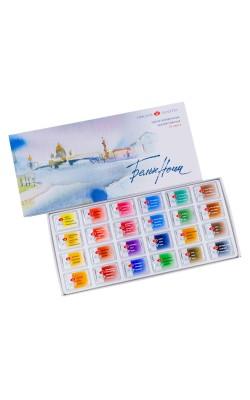 """Набор акварельных красок """"Белые Ночи"""", 24 кюветы, в картонной коробке"""