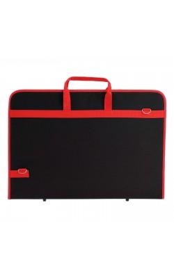 """Папка """"Estado"""", с ручками, А2, 640*450*30 мм, плечевой ремень, текстиль, чёрный/красный кант"""