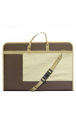 """Папка """"Estado"""", с ручками, А2, 640*450*30 мм, с карманом, текстиль, коричневый/бежевый кант"""