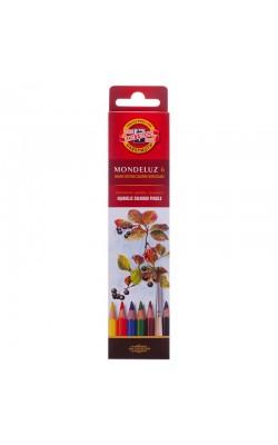 """Набор высококачественных акварельных цветных карандашей KOH-I-NOOR """"Mondeluz"""", 6 цветов"""