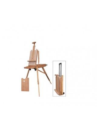 Этюдник деревянный (вяз), холст до 87 см, размер 72*114*180 см, в виде чемодана