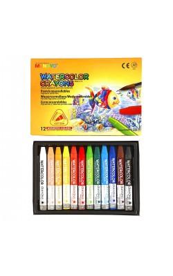 """Акварельные мелки """"Mungyo"""" Watercolor Crayons Triangular Shaped, трёхгранные, 12 цветов"""