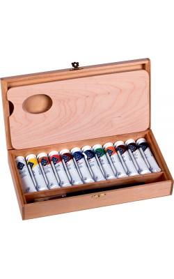 Набор масляных красок Мастер Класс 12 туб по 18мл в деревянной упаковке с кистью