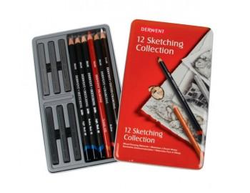 """Товар Набор графических материалов Derwent """"Sketching Collection"""" 12 штук  в металлической упаковкеDerwent"""