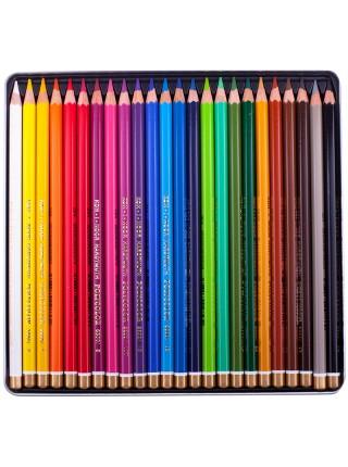 """Карандаши Koh-I-Noor """"PolyColor"""", художественные 24 цвета, заточенные, металлический пенал"""