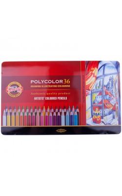 """Карандаши Koh-I-Noor """"PolyColor"""", художественные 36 цвета, заточенные, металлический пенал"""